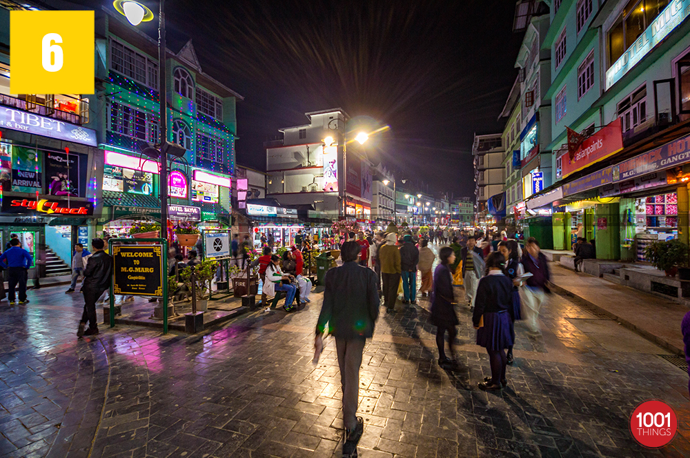 Night view of mg marg gangtok