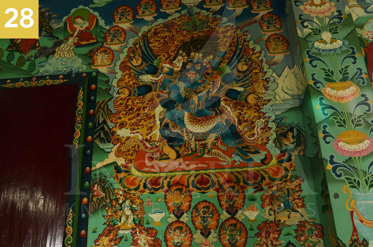 nice work on the wall of rangapani monastery, darjeeling district, west bengal