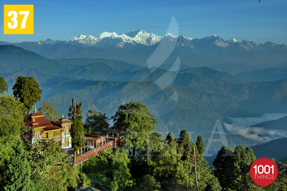 Bhutia Busty Gompa and Mt. Kanchenjunga  , Darjeeling