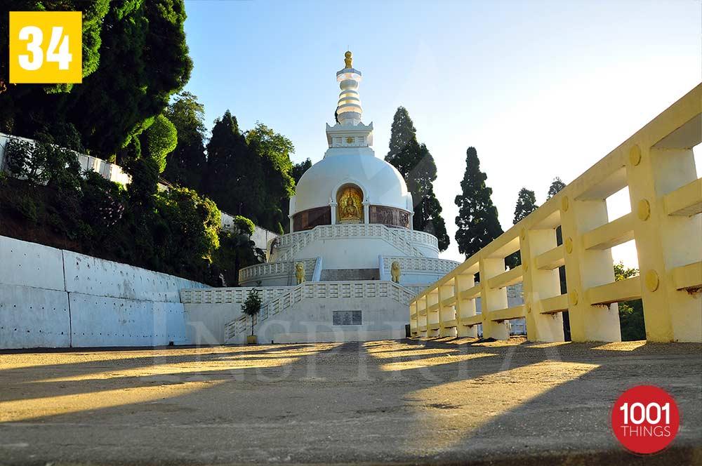 Front View Peace pagoda  -Darjeeling