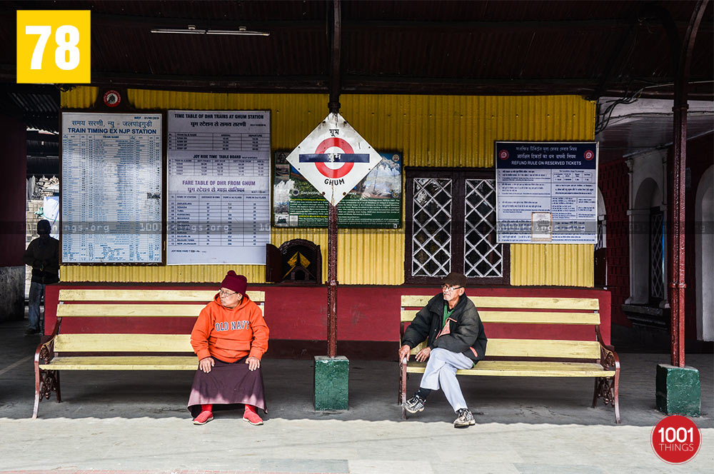 Travellers at Ghum Railway Station, Darjeeling