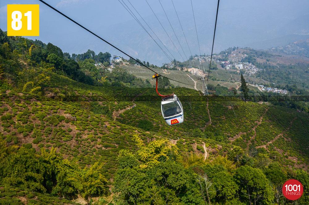 Darjeeling Ropeway over the fields