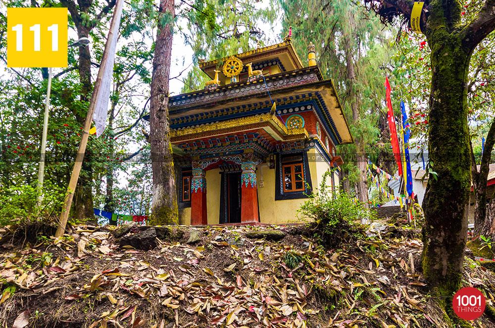Norbugang-Chorten-and-coronation-throne,-the-shed-for-big-prayer-wheel